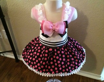 Toddler Pageant Casual Wear-Pink, Black and White Toddler Pageant Casual Wear- Fancy Girl's Casual Dress Pageant