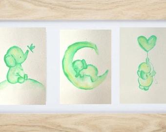 Green Nursery Decor, Nursery art, ORIGINAL watercolour elephant, baby shower gift, Boy Nursery Decor, watercolor animal, nursery decor
