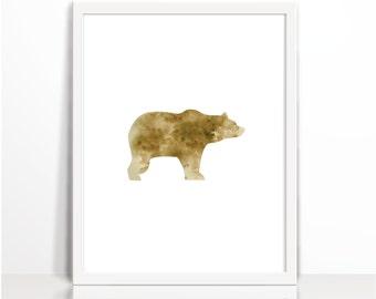 Watercolor Bear, Brown Bear, Wild Bear Print, Mountain Animal Print, Woodlands Bear Print, Bear Printable, Bear Wall Art, Bear Print, Hunt