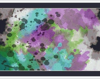 Abstract Watercolor Painting - Counted Cross Stitch Pattern, Cross-stitch, crossstitch, xstitch,x-stitch, chart, Instant Download PDF