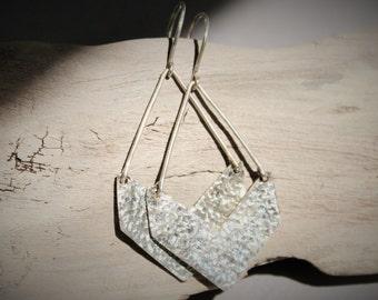 Sterling Silver Chevron Dangle Earrings
