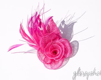 Raspberry Red Fascinator 2 in1 Hair Clip and Brooch