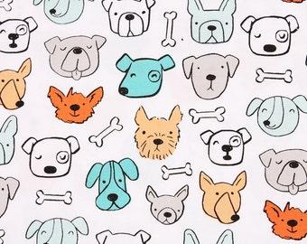 Animal) Dog, Puppy Patterned Fabric, Clothworks by Half Yard