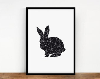 Origami Rabbit Print, Geometric Digital Art, Printable Art, Black Animal Wall Decor, Digital Rabbit, Black Rabbit Wall Art, Digital Print