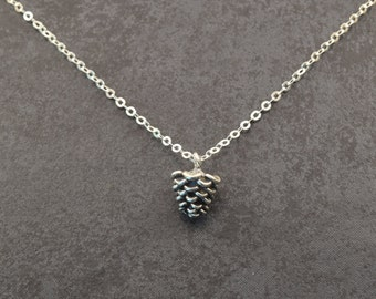 Pine cone necklace, pine cone necklace gift, pine cone necklace friend gift, pinecone necklace, pine cone gift, gift idea, silver pine cone