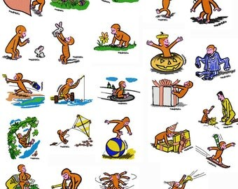 Curious George Embroidery Design pack / set
