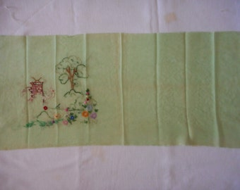 Green Chiffon Vintage Embroidery Cloth to Finish