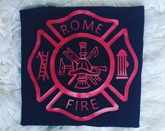 Maltese cross customizable fire dept-shirt