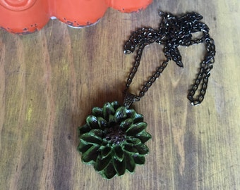 Hand made polymer clay flower pendant necklace