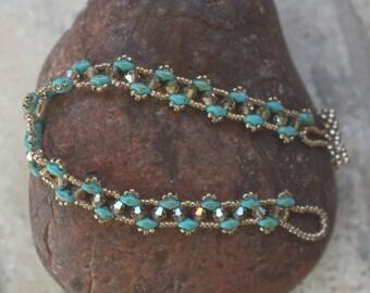 Carolina Blue and Topaz Crystal Beaded Bracelet