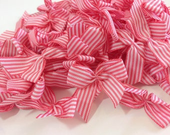 Red and White Stripe Bows x 30, Striped Bows, Red and White Bows, Craft supplies, Bows, Bows for Crafting,