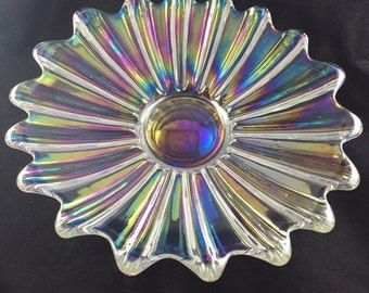 """Clear Iridescent Carnival Glass Federal 9"""" Bowl"""