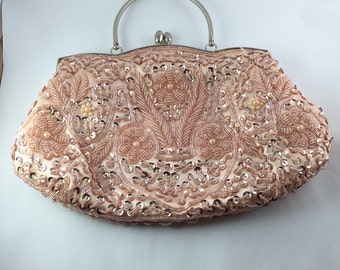 Peach Pink and Silver Clutch Handbag with Beaded Glass, Glass Pearls and Sequins Evening Bag Clutch Purse