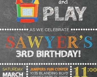 Bounce House Invitation - Birthday Invitation