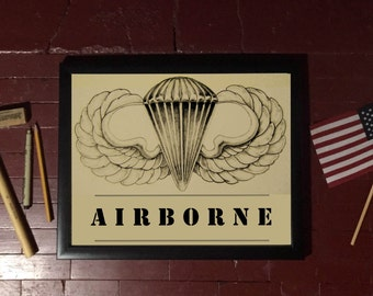 Vintage Aibrorne Military Art Print, Airborne Army Gifts, Army Veterans, Army Retirement Gift, Military Art, Airborne Military Decor