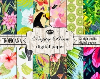 Digital paper pack, Printable paper pack, Scrapbook papers, Digital collage sheets, Tropical scrapbook patterns, Digital paper printable