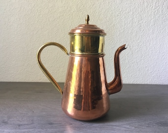 Vintage Copper and Brass Coffee Pot and Percolator