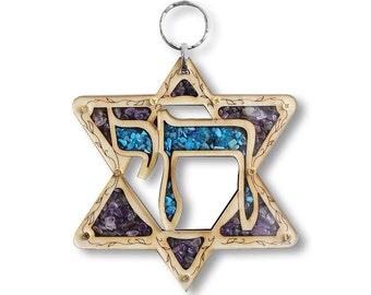 Jewish Wooden Hebrew Chai Star of David Wall Decor with Gemstones