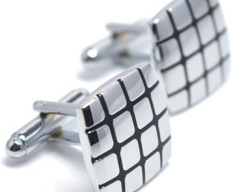 Square Men's Cufflinks Black And Silver Buttons - Elegant Gift Box