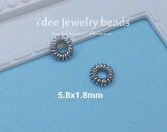 5.8mm silver Coiled Wire Spacer, Solid 925 Sterling Silver with Rhodium Plated for Anti Tarnish. F360