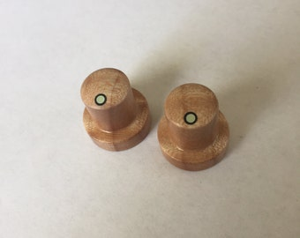 Flame Maple Set of two skirted custom wood guitar knobs