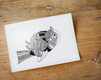 Postcard - Unique Hand drawn bird