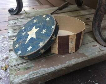 Primitive, distressed, rustic Americana box home decor