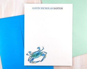 Maryland Blue Crab Art, Stationary Set, Sea Shore, Personalized Stationary Set of 12