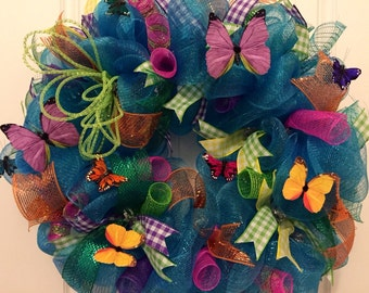 Blue Turquoise Butterfly Deco Mesh Wreath