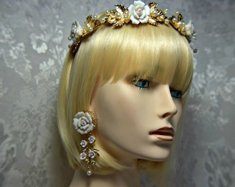 victorian headpiece, victorian tiara, victorian headband, art deco tiara, art deco headband, art deco headpiece, wedding headpiece earrings