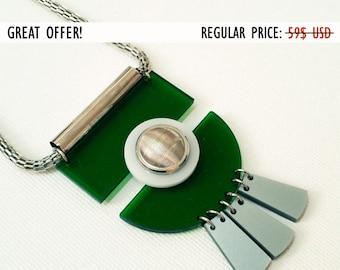 SALE, green geometric necklace, statement colorful necklace, bold necklace, long chain necklace, industrial jewelry, urban jewelry