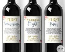 Wedding Milestones, Labels, Wine Labels, Wedding Gift, Thoughtful Wedding, Wine tags, Wine Poems, Wine Gift