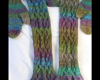 Mitts and cabled scarf