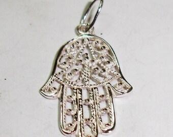 Silver Fatima Hand Pendant