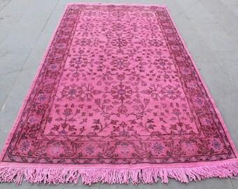 Turkish pink overdyed rug,anatolian oushak vintage turkish rugs,decorative area rugs,handwoven carpets,natural wool carpet220x120cm.7.2x4.ft