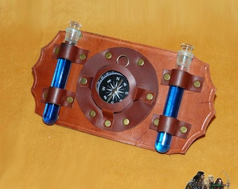 Steampunk leather accessory for belt with compass and potions