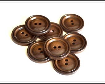 Vintage Brown Buttons - Brown Plastic Buttons