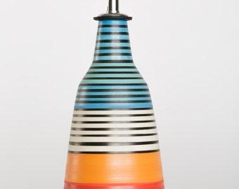 olive oil dispenser, olive oil cruet,handmade oil bottle, striped patterns