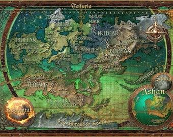 Heroes 5 map, Ashan map, Digital print,  Home Decor