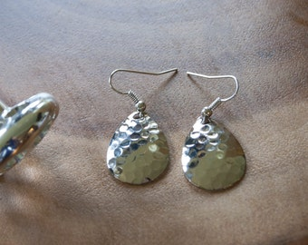 Hammered Silver Fishing Lure Spinner Earrings