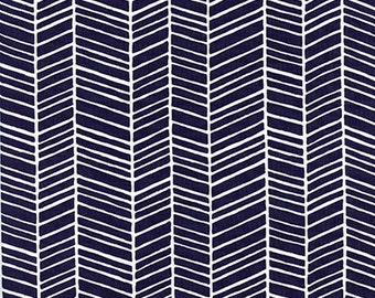 Joel Dewberry - Modern Meadow Collection - Herringbone - Lake - Navy Blue - JD36.LAKEX - 100% Cotton Fabric by the Yard - You Choose the Cut