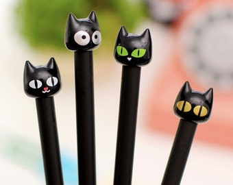Kawaii Black Cat gel pens