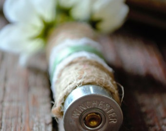 Shotgun Shell Boutonniere with Twine, Lace and Sage Green Ribbon