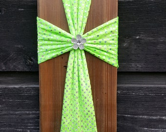 Vibrant Green Fabric and Reclaimed Wood Cross