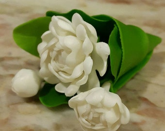 Hand made clay flower miniature dollhouse for home decoration Jasmine// handcraft// gift collectible// home decoration// Thai art craft