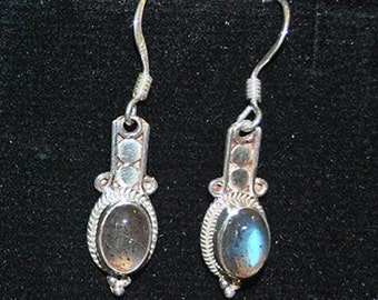 Silver earrings with labradorite settings