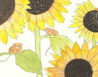A4 Sunflower Mice Print