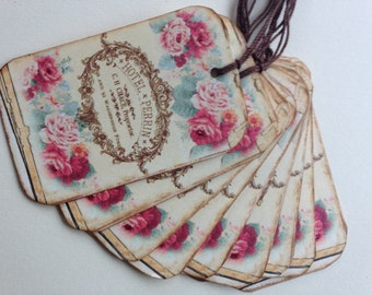 French Rose Logo Tags/Petite French Tags/Rose Gift Tags/Vintage Style Tags/Shabby Rose Tags/Set of 8