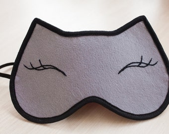 Eye Sleep Mask Felt Cat Mask Handmade Sleeping Woman Eyemask Gift Accessories Embroidery
