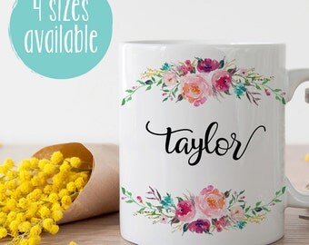 Custom Name Mug, Personalized Mug, Mug For Friend, Mug For Bridesmaid, Bridesmaid Gift, Bridesmaid Mug, Customized Mug, Floral Mug, Name Mug